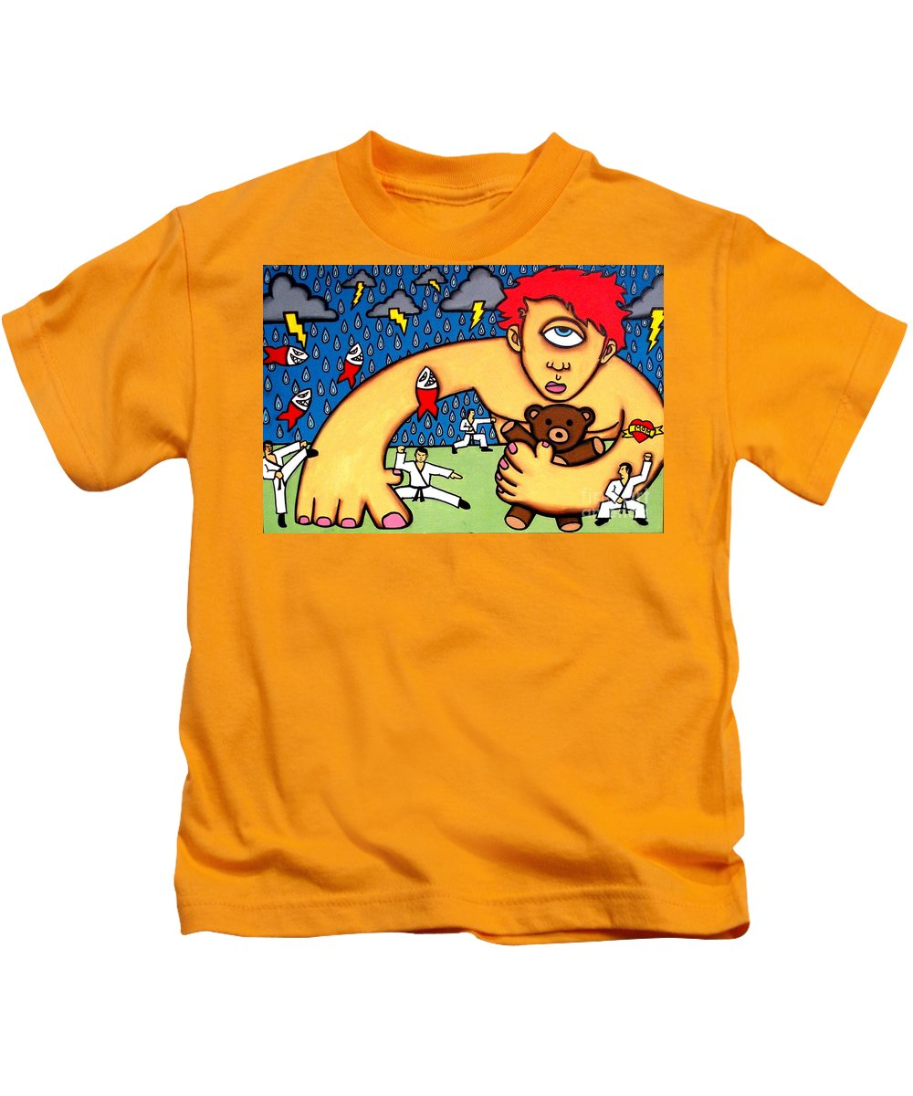 Cyclops Kids T-Shirt featuring the painting Cyclops I Want To Sleep by Thomas Valentine