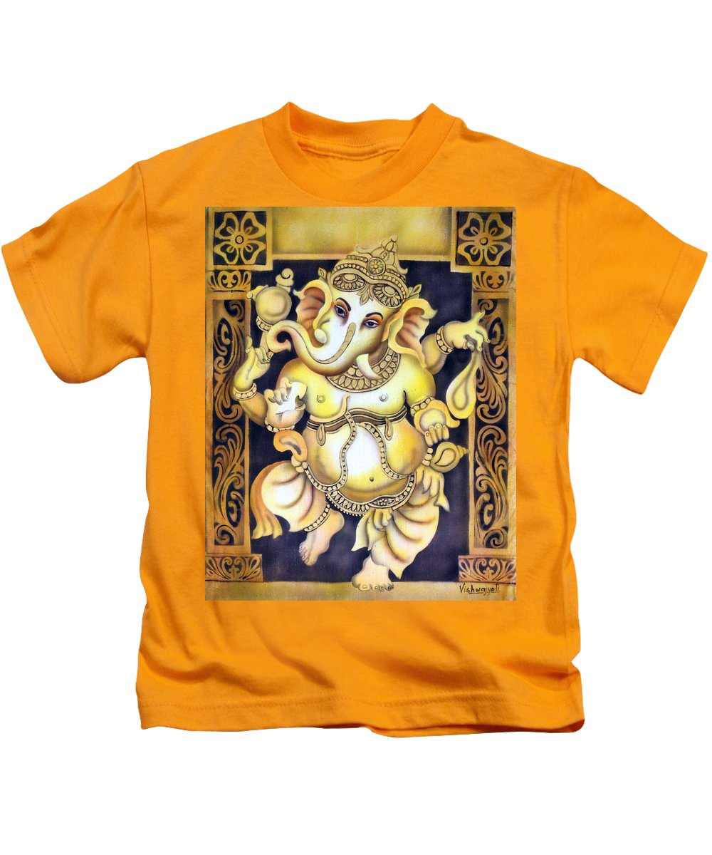 Ganesh Kids T-Shirt featuring the painting Dancing Ganesh by Vishwajyoti Mohrhoff