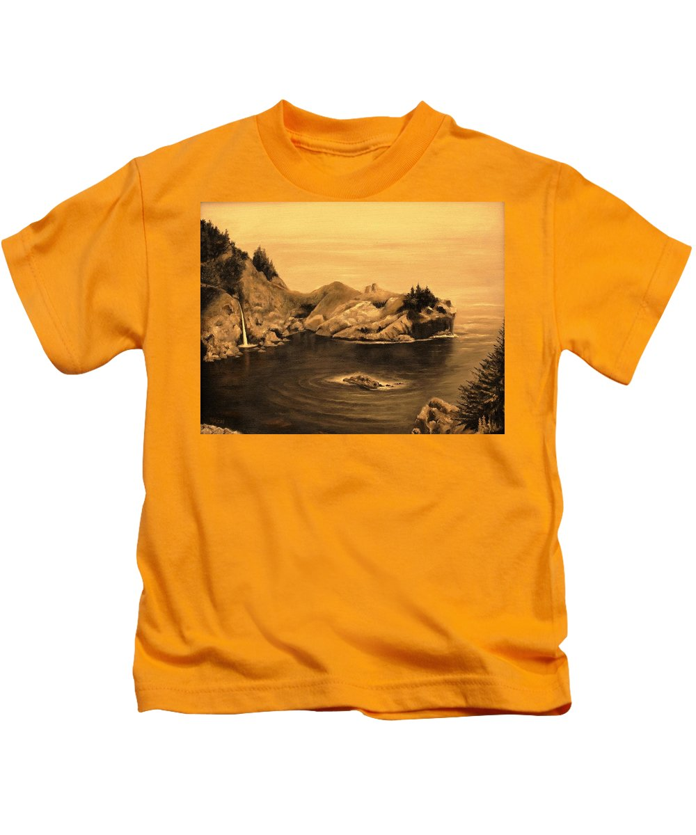 Pacific Ocean Kids T-Shirt featuring the painting Dawning Of A New Day by Hazel Holland