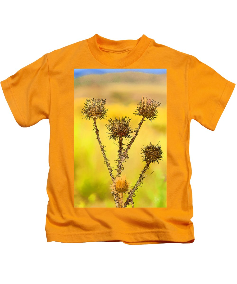 Wildflower Kids T-Shirt featuring the photograph Dry Brown Thistle by J Michael Nettik