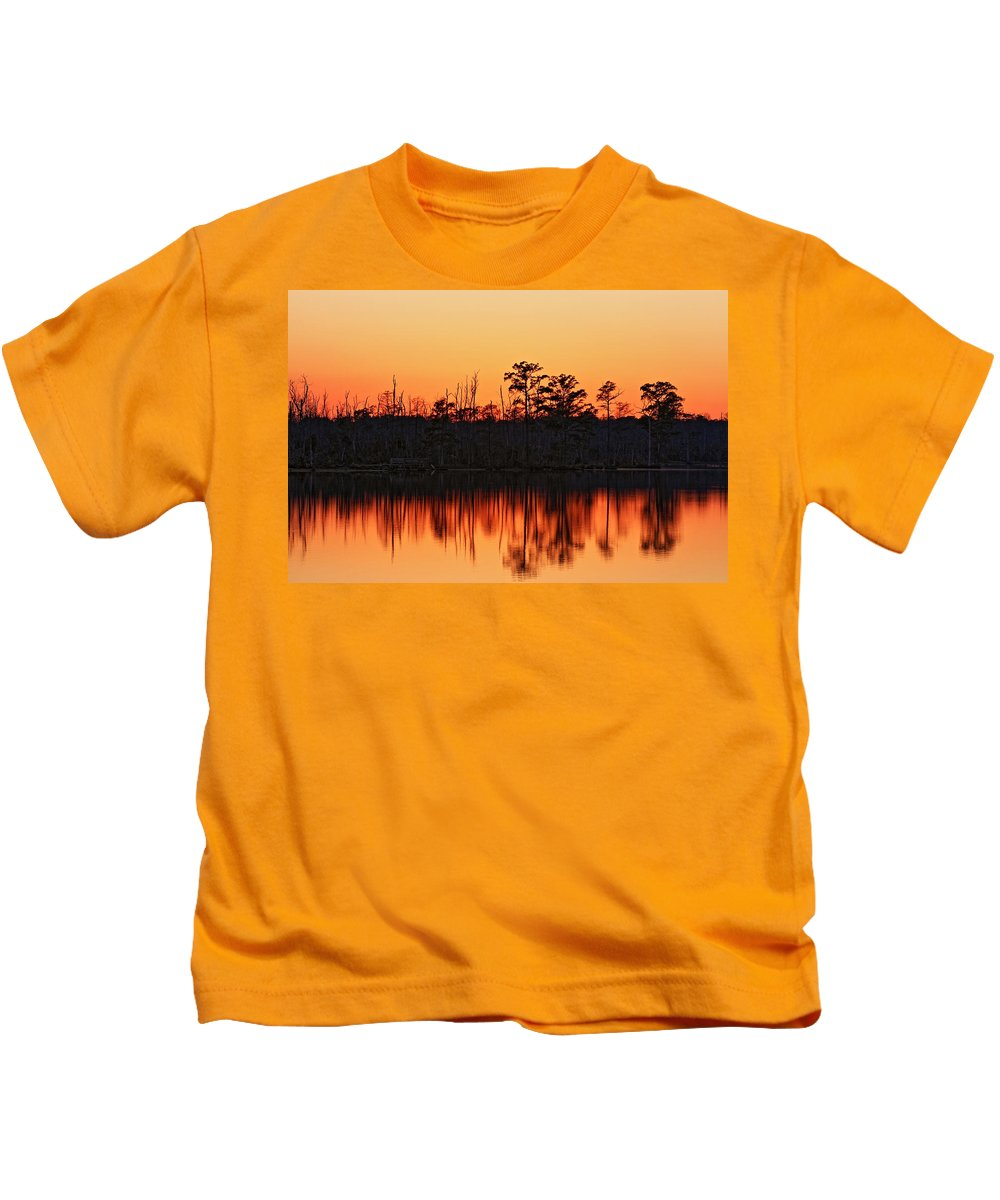 Sunset Kids T-Shirt featuring the photograph Dusk At Pocosin Lakes by April Copeland