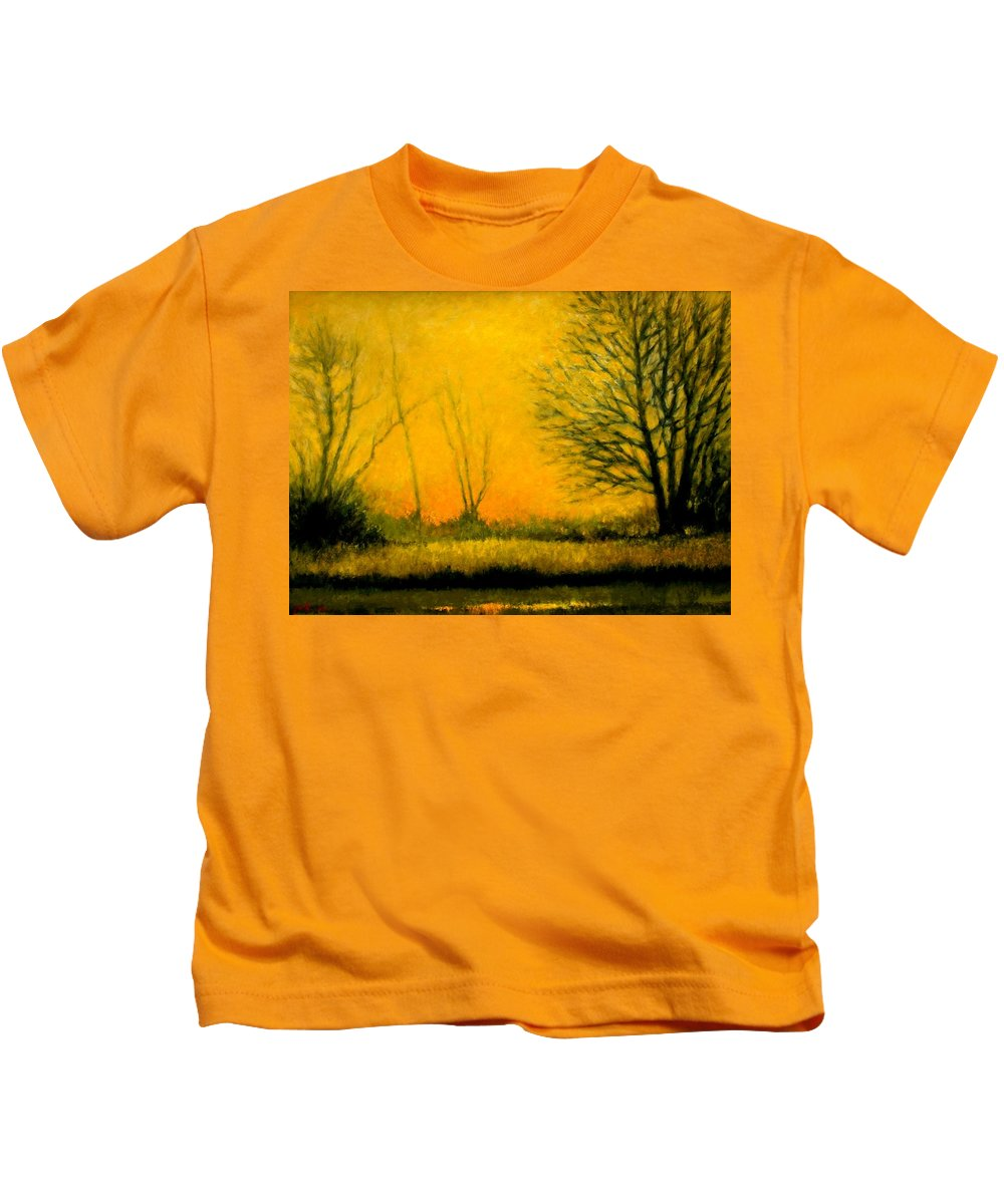 Landscape Kids T-Shirt featuring the painting Dusk at the Refuge by Jim Gola