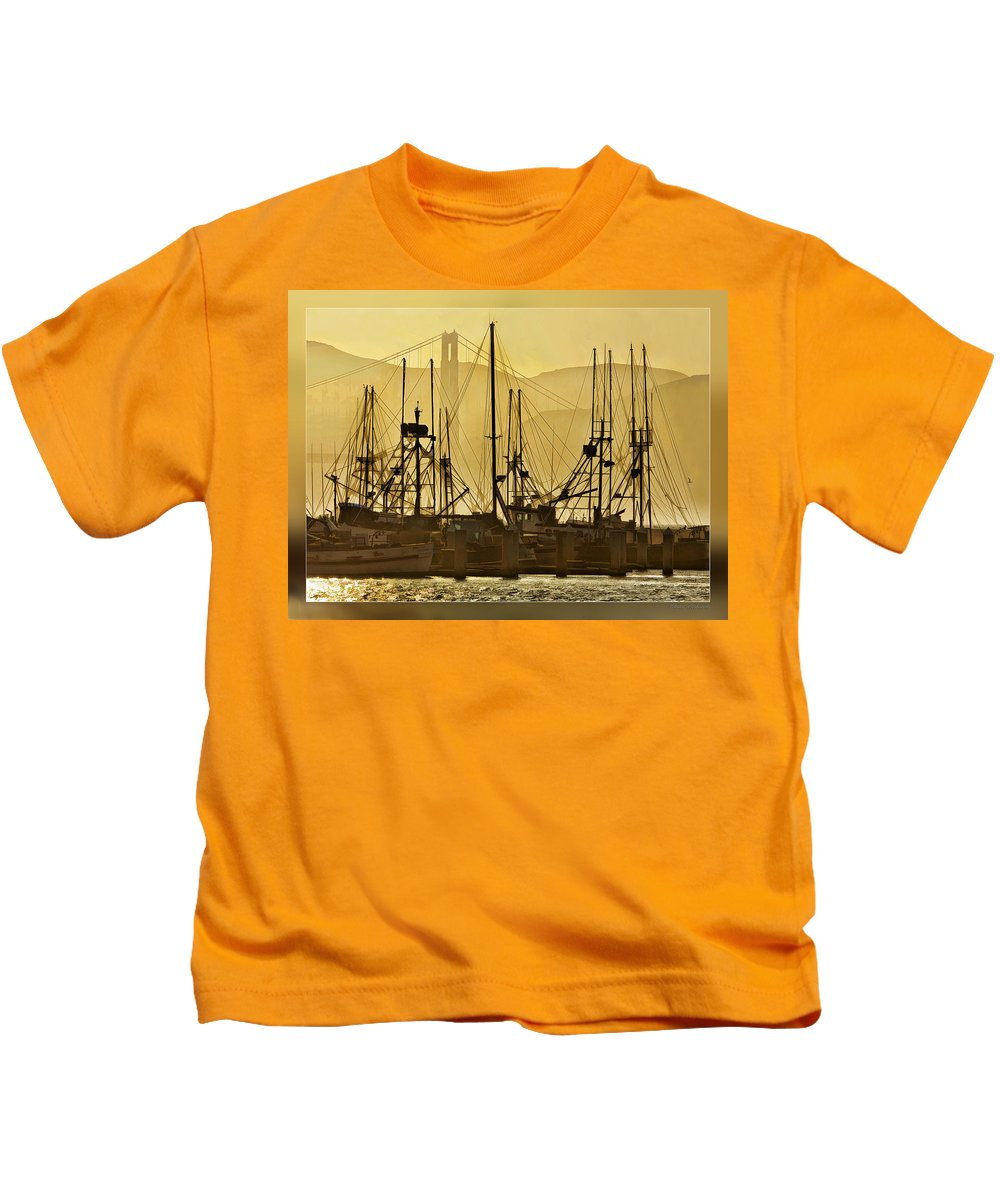 San Francisco Kids T-Shirt featuring the photograph Fishing Boats And The Golden Gate by Blake Richards