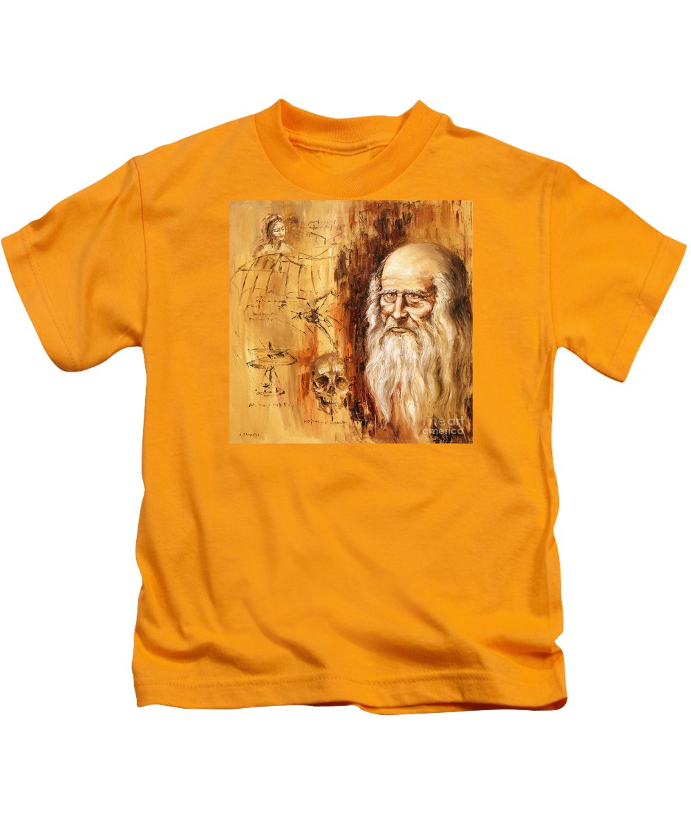 Leonardo Da Vinci Kids T-Shirt featuring the painting Genius  Leonardo Da Vinci by Arturas Slapsys