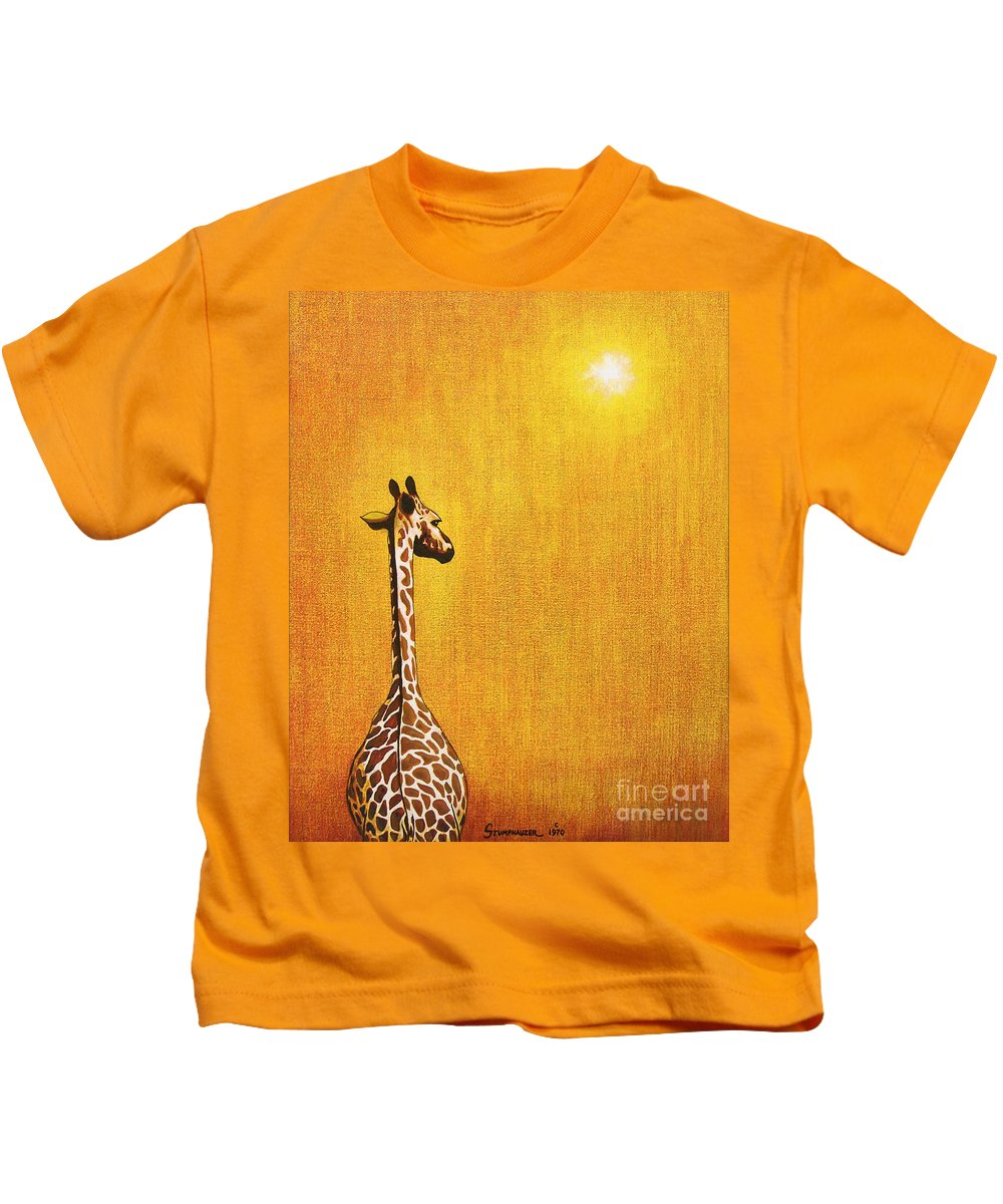 Giraffe Kids T-Shirt featuring the painting Giraffe Looking Back by Jerome Stumphauzer