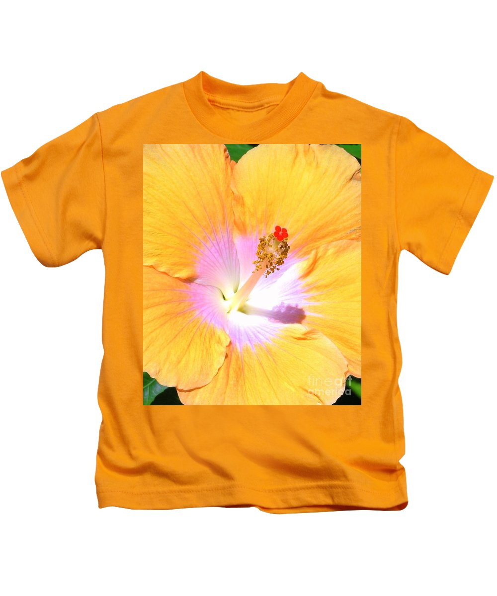 Gold Kids T-Shirt featuring the photograph Gold Hibiscus by Mary Deal