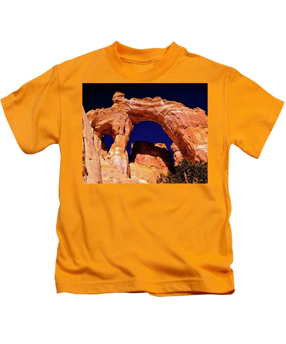 Arch Kids T-Shirt featuring the photograph Grosvenor Arch Sunset Kodachrome Basin by Ed Riche