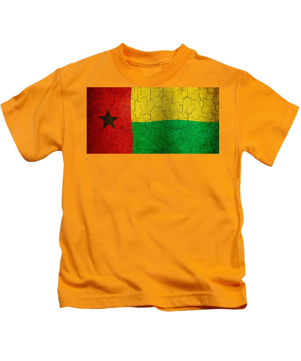 Aged Kids T-Shirt featuring the digital art Grunge Guinea-bissau Flag by Steve Ball