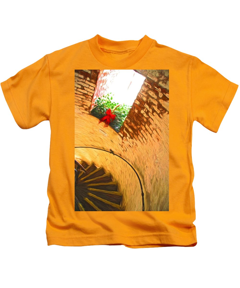 Lighthouse Kids T-Shirt featuring the photograph Holiday In The Lighthouse by Alice Gipson