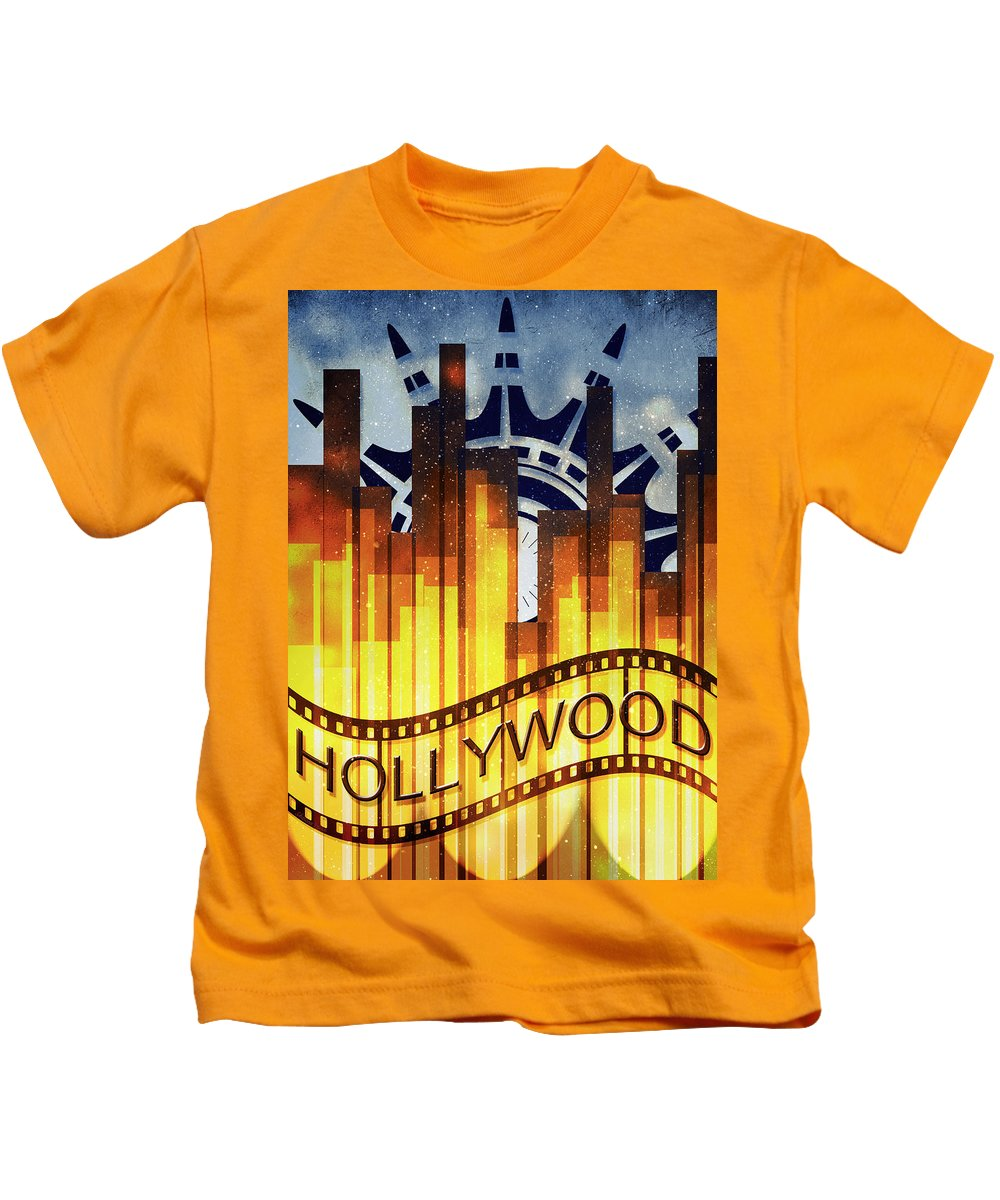 Hollywood Kids T-Shirt featuring the digital art Hollywood Gold by Shawna Rowe