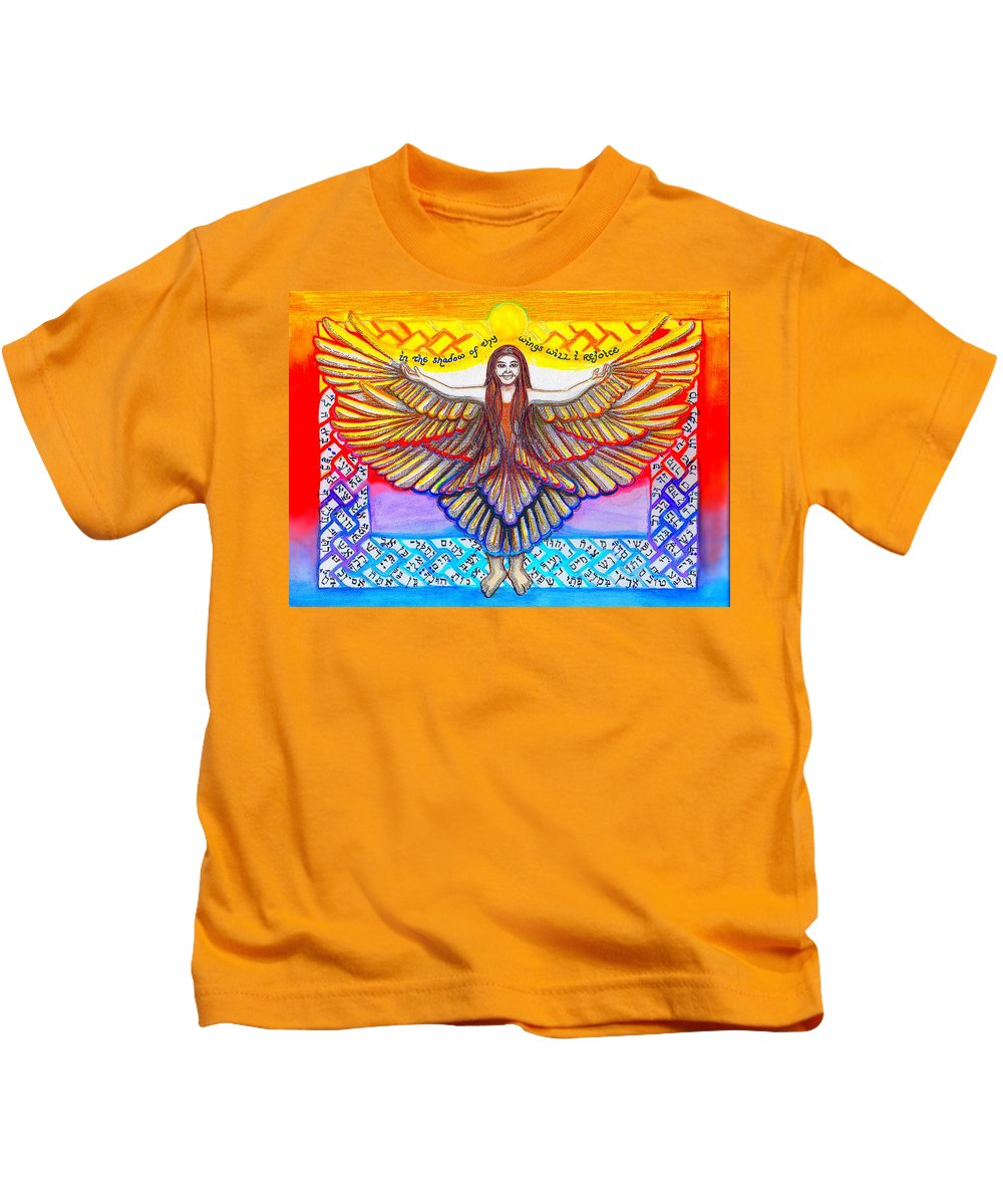 Celtic Kids T-Shirt featuring the painting In The Shadow Of Thy Wings Psalms by Hidden Mountain