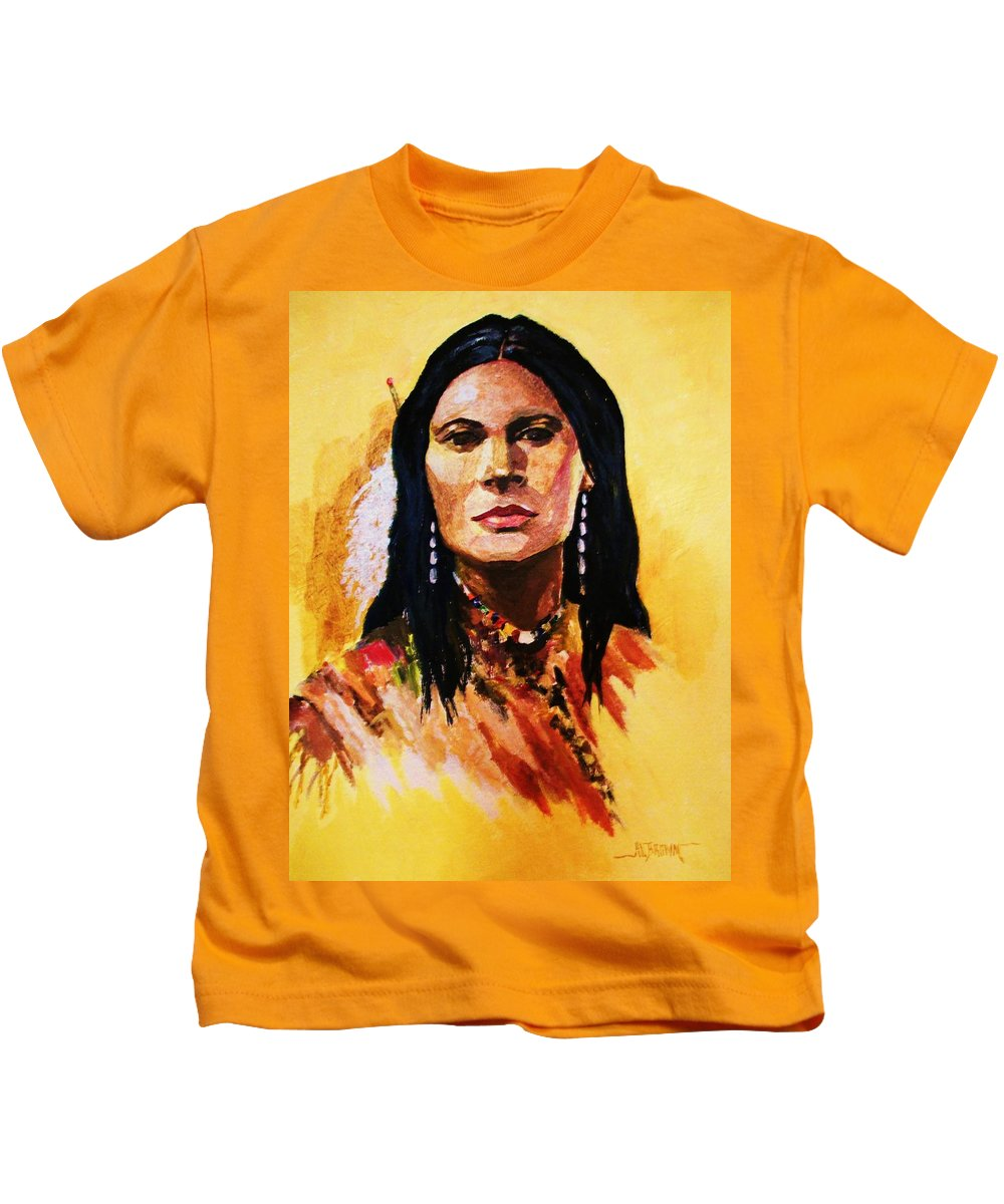 Womens Portraits Kids T-Shirt featuring the painting Maiden In White Feather And Beads by Al Brown