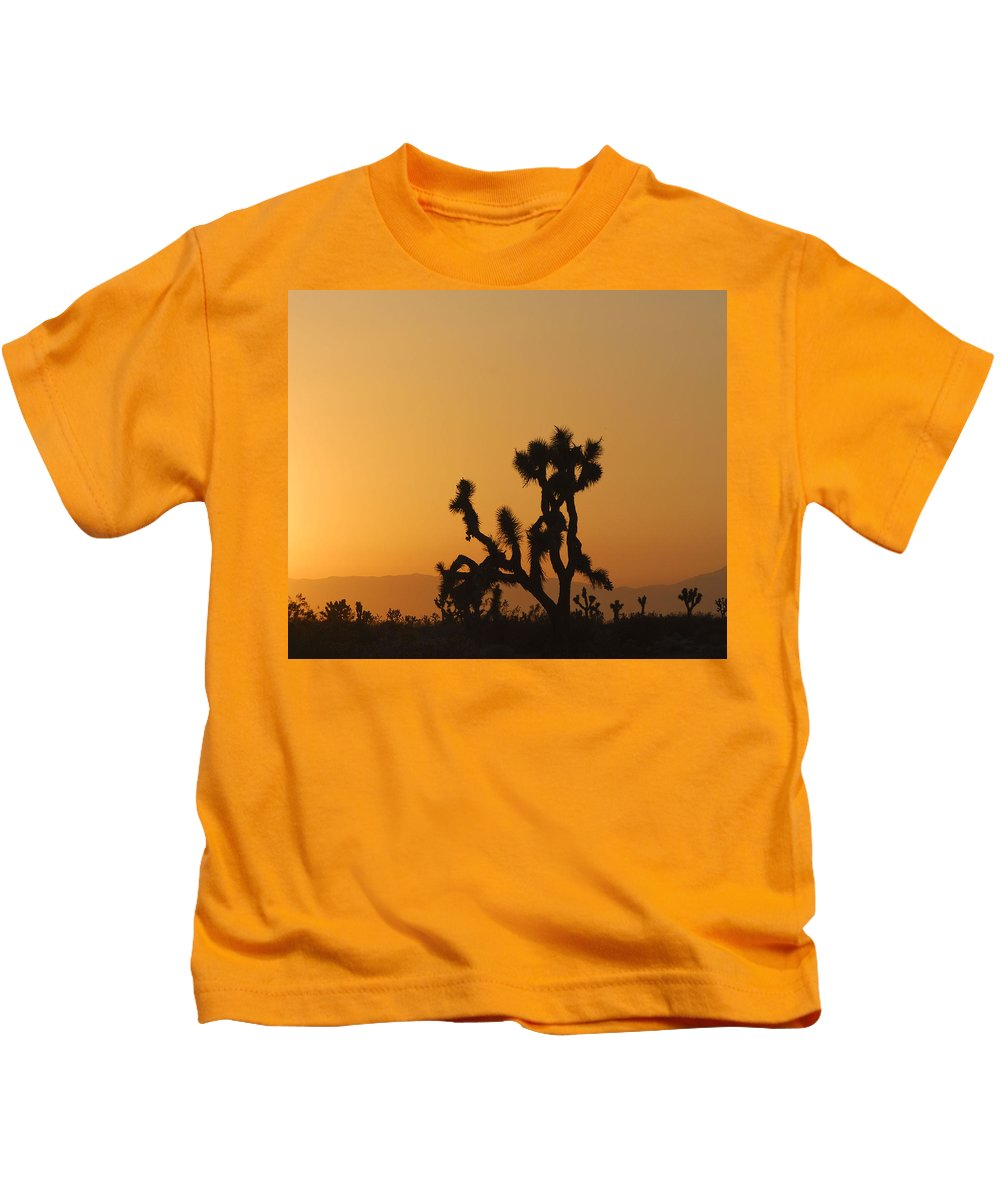 Antelope Valley Kids T-Shirt featuring the photograph Joshua Tree At Sunset by Juli Scalzi