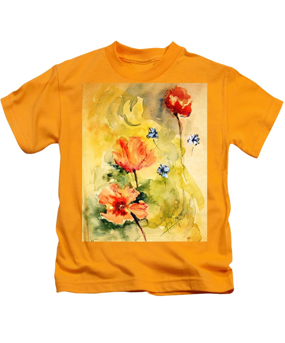 Playful Flowers Kids T-Shirt featuring the painting Just Play by Mary Spyridon Thompson