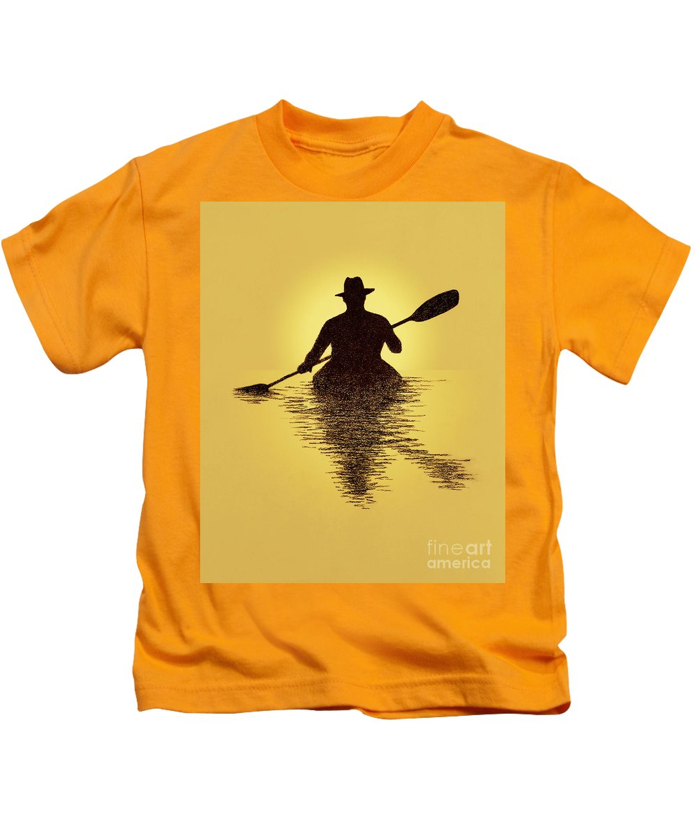 Kayaker Kids T-Shirt featuring the drawing Kayaker Sunset by Garry McMichael