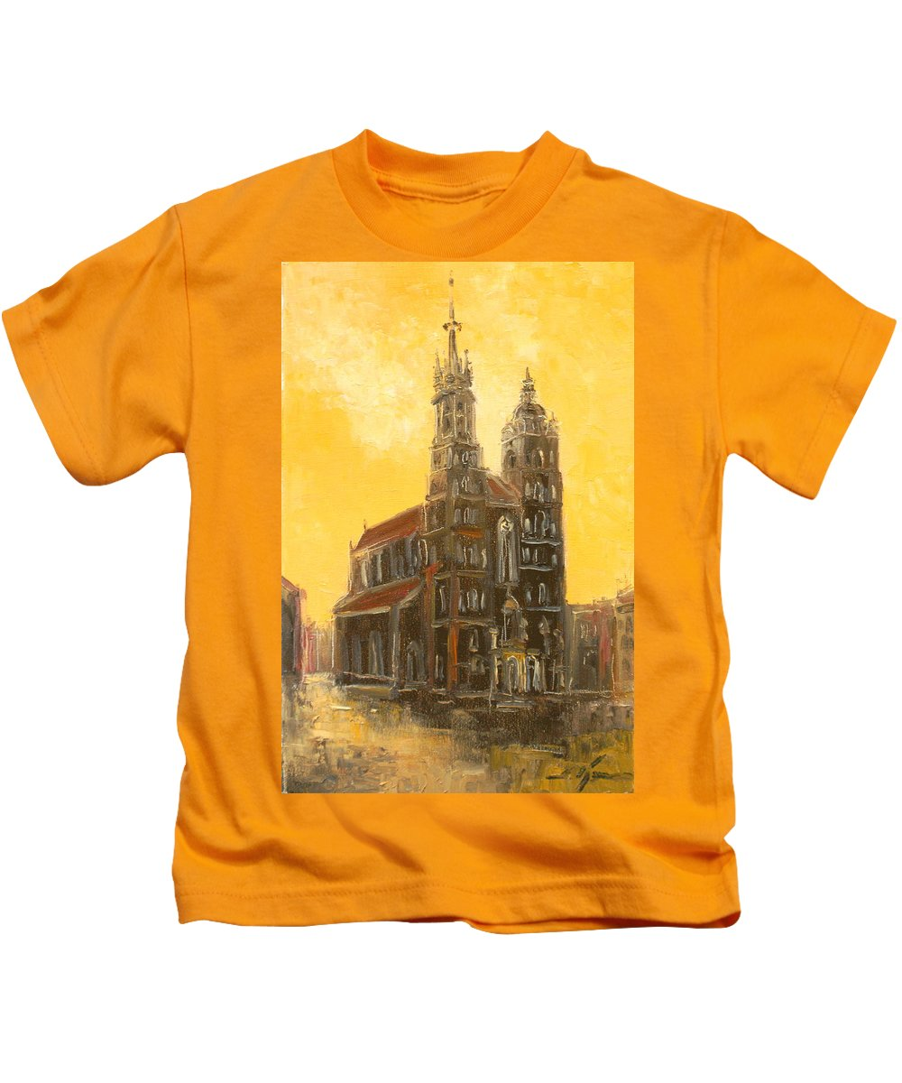 Krakow Kids T-Shirt featuring the painting Krakow - Mariacki Church by Luke Karcz