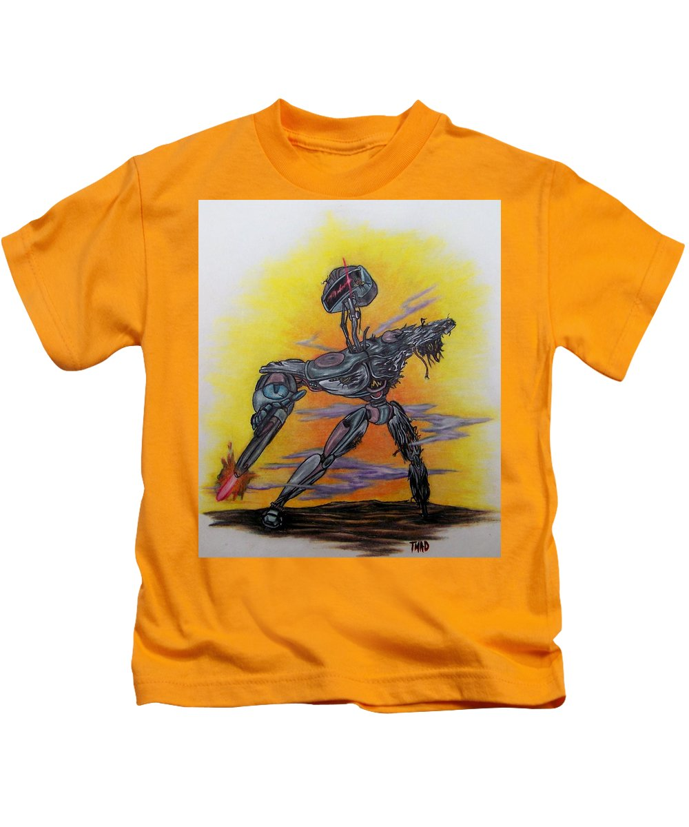 Michael Kids T-Shirt featuring the drawing Last Resort by Michael TMAD Finney