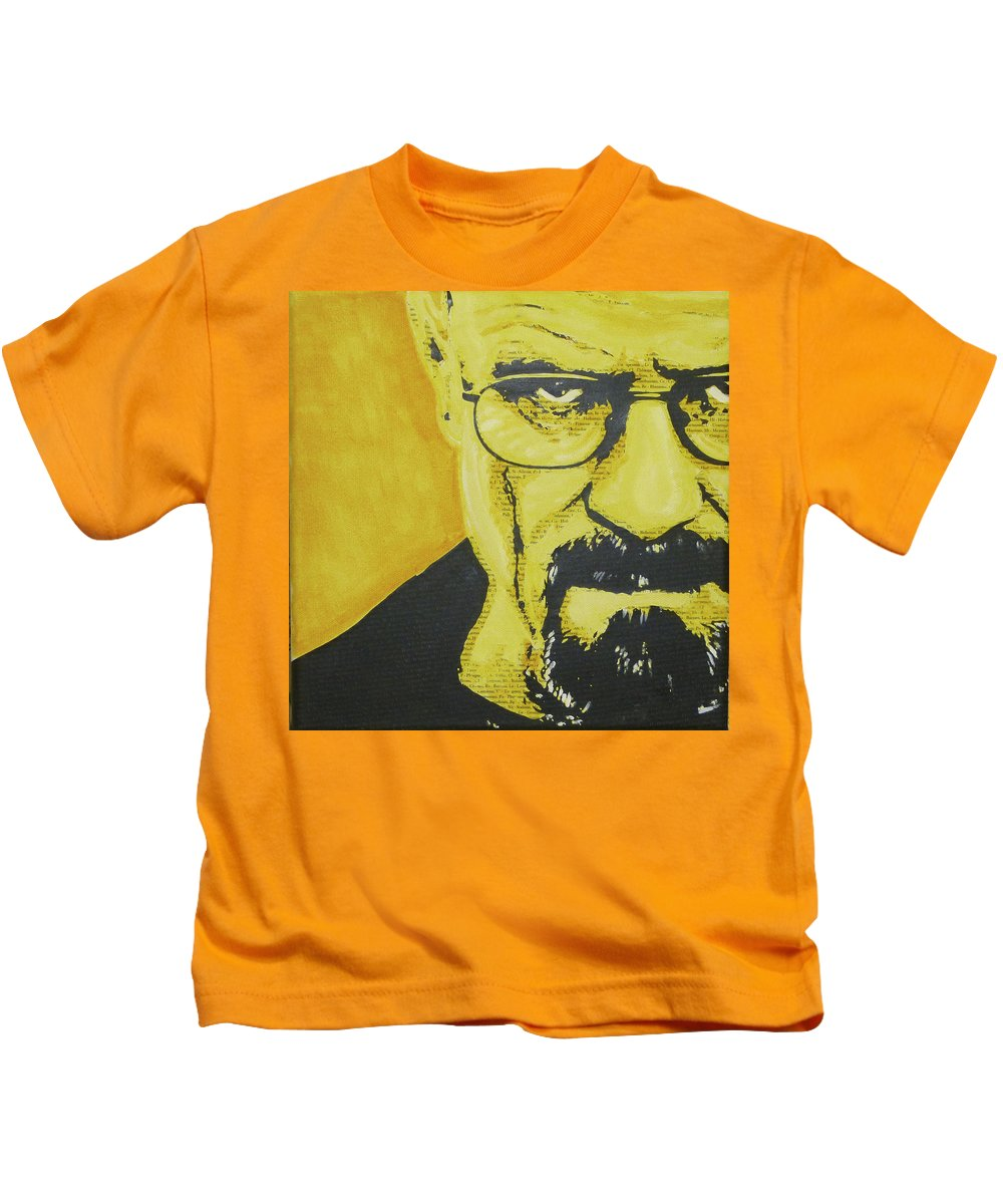 Breaking Bad Kids T-Shirt featuring the painting Literally Walt White by Gary Hogben