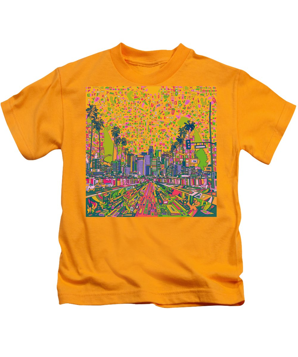 Los Angeles Kids T-Shirt featuring the painting Los Angeles Skyline Abstract by Bekim Art
