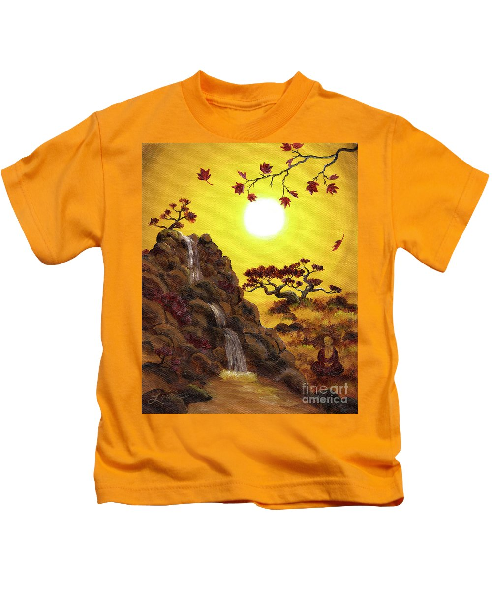 Zen Kids T-Shirt featuring the painting Meditating By A Golden Waterfall by Laura Iverson