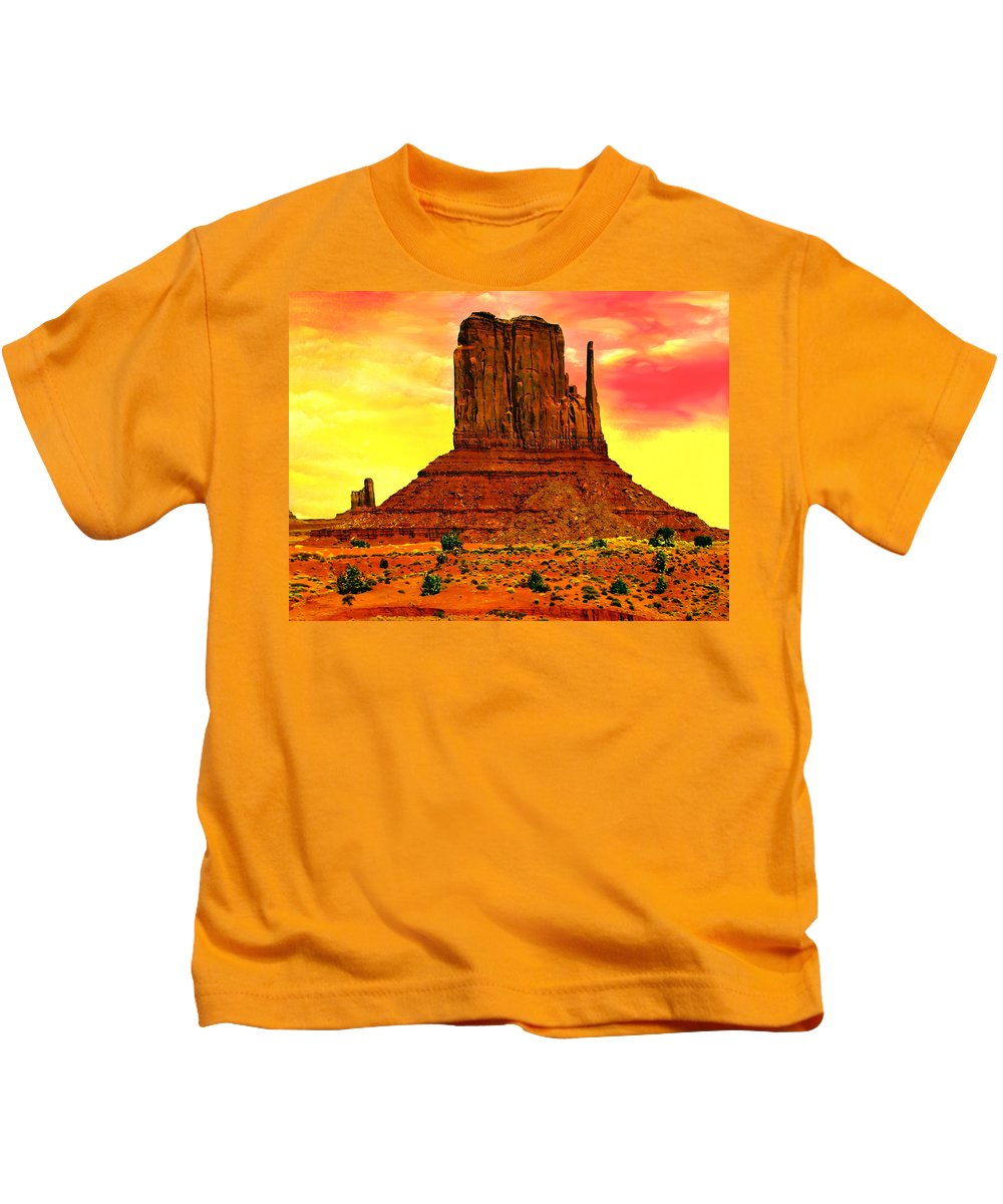 Monument Valley Kids T-Shirt featuring the painting Monument Valley Right Mitten Sunrise Painting by Bob and Nadine Johnston