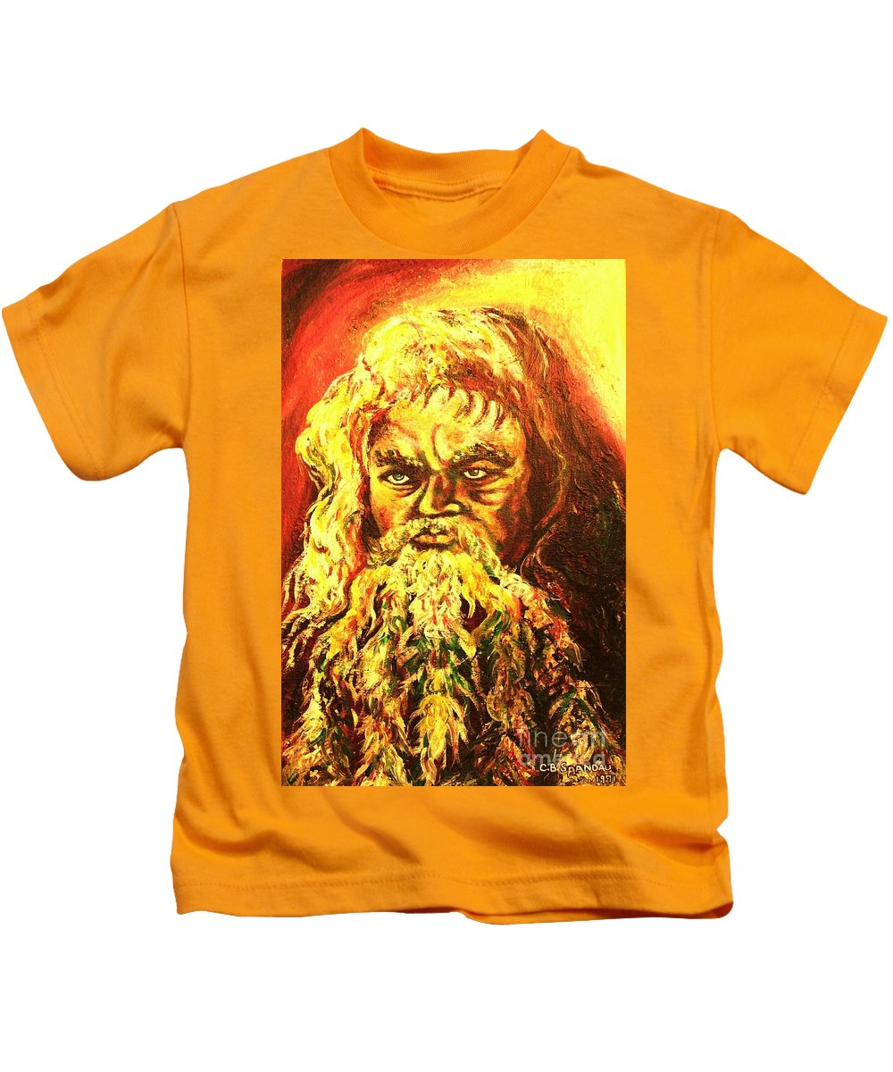 Moses Kids T-Shirt featuring the painting Moses At The Burning Bush by Carole Spandau