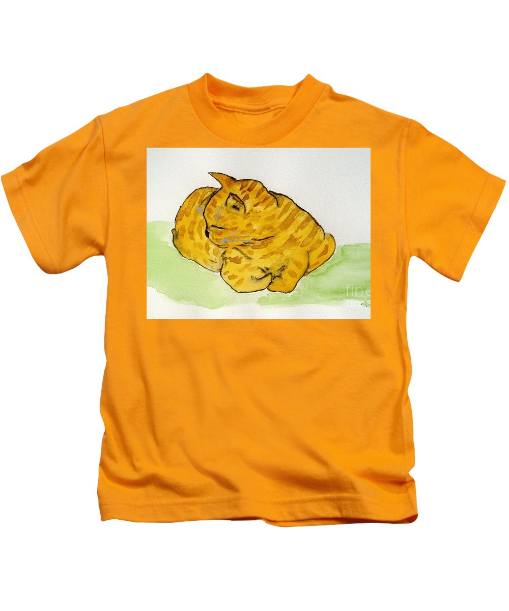 Cat Painting Kids T-Shirt featuring the painting Mr. Yellow by Reina Resto