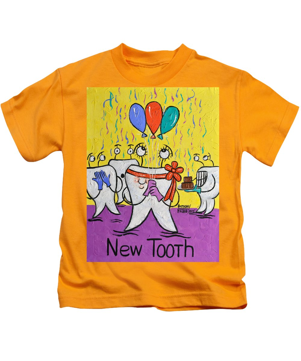New Tooth Kids T-Shirt featuring the painting New Tooth by Anthony Falbo