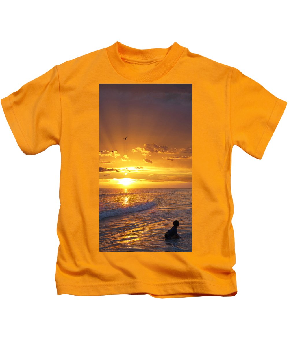 Children Kids T-Shirt featuring the painting Not Yet - Sunset Art By Sharon Cummings by Sharon Cummings