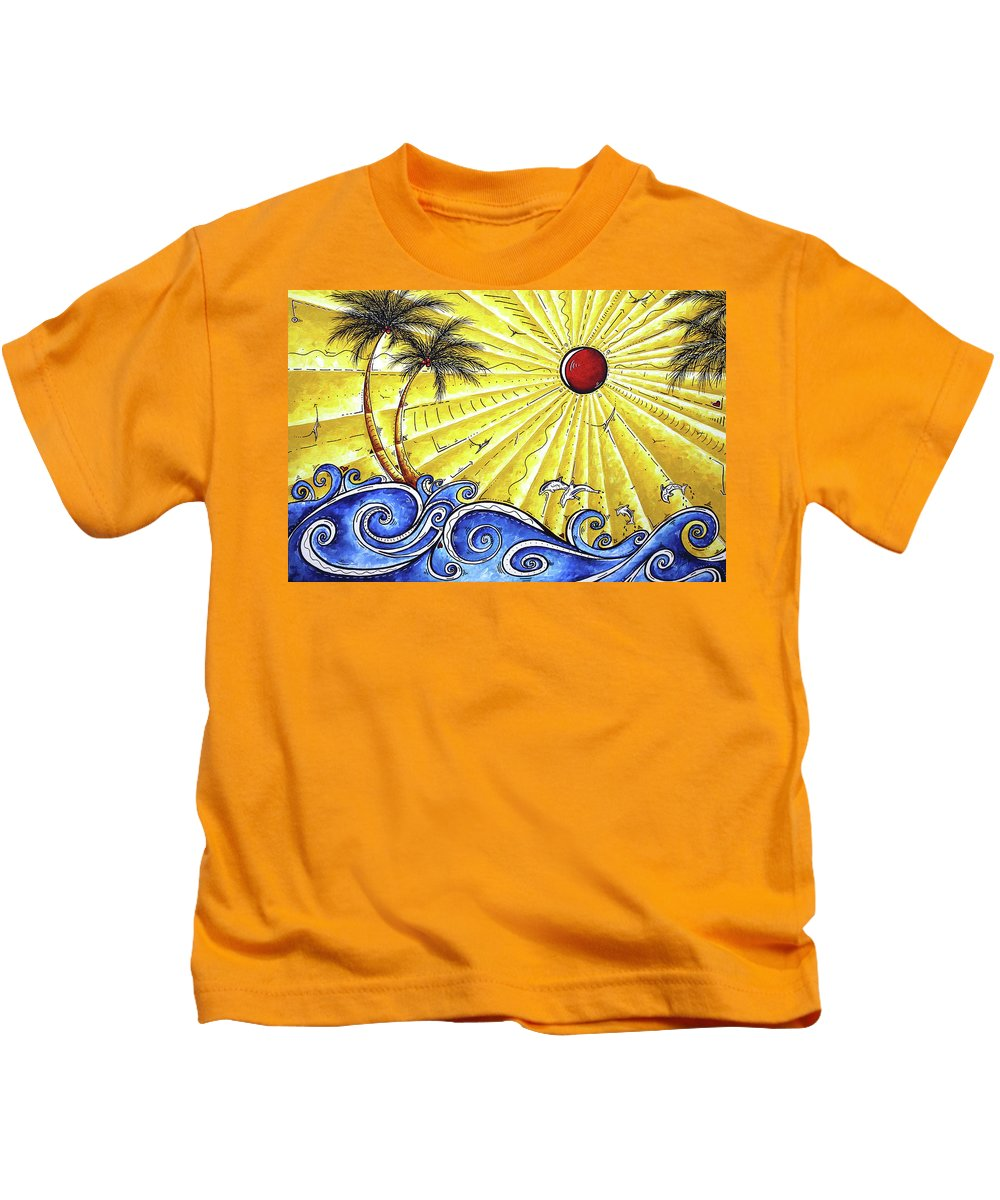 Tropical Kids T-Shirt featuring the painting Ocean Fury By Madart by Megan Duncanson