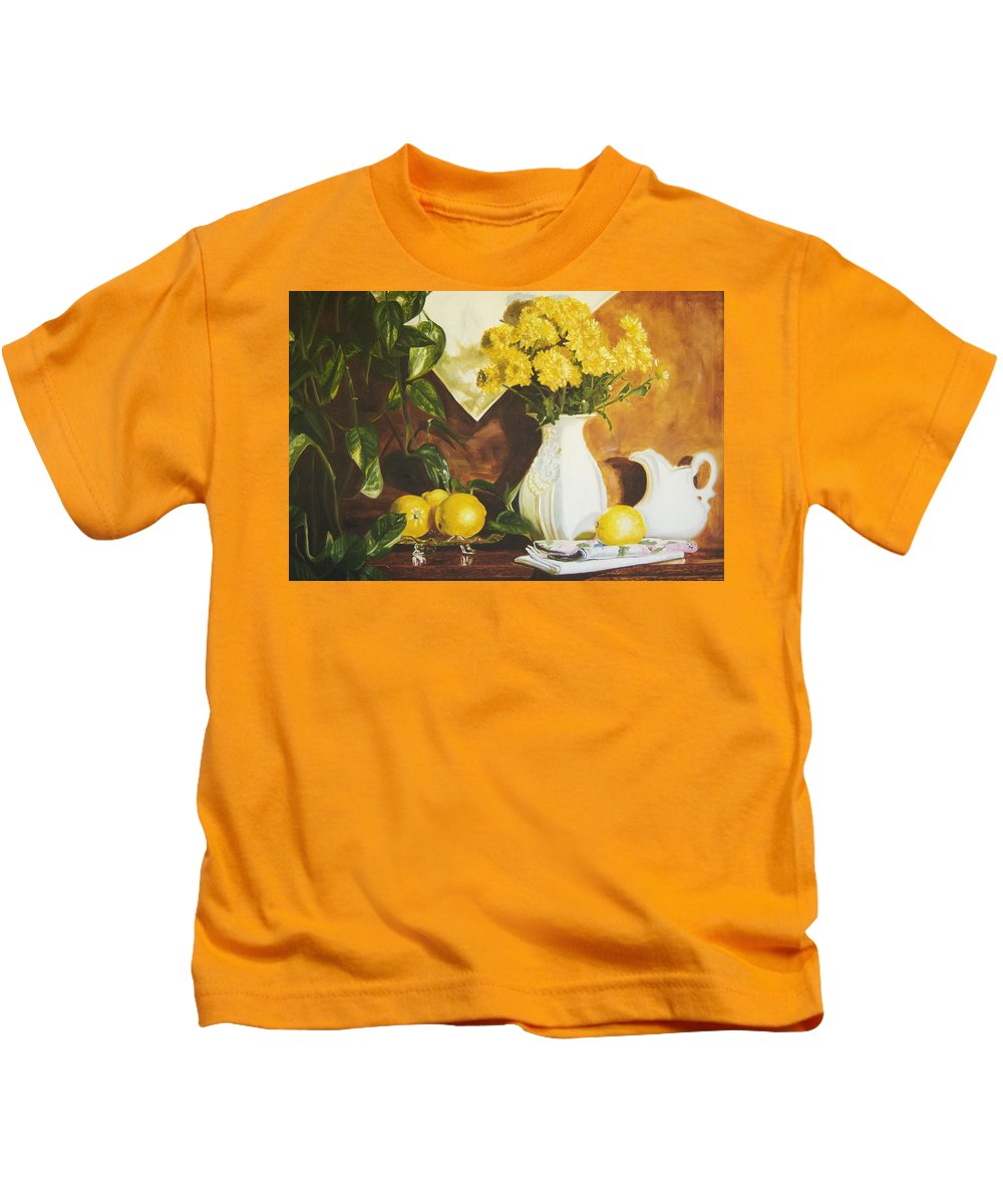 Print Still Life Kids T-Shirt featuring the painting oil painting print of art for sale Golden Lemons by Diane Jorstad