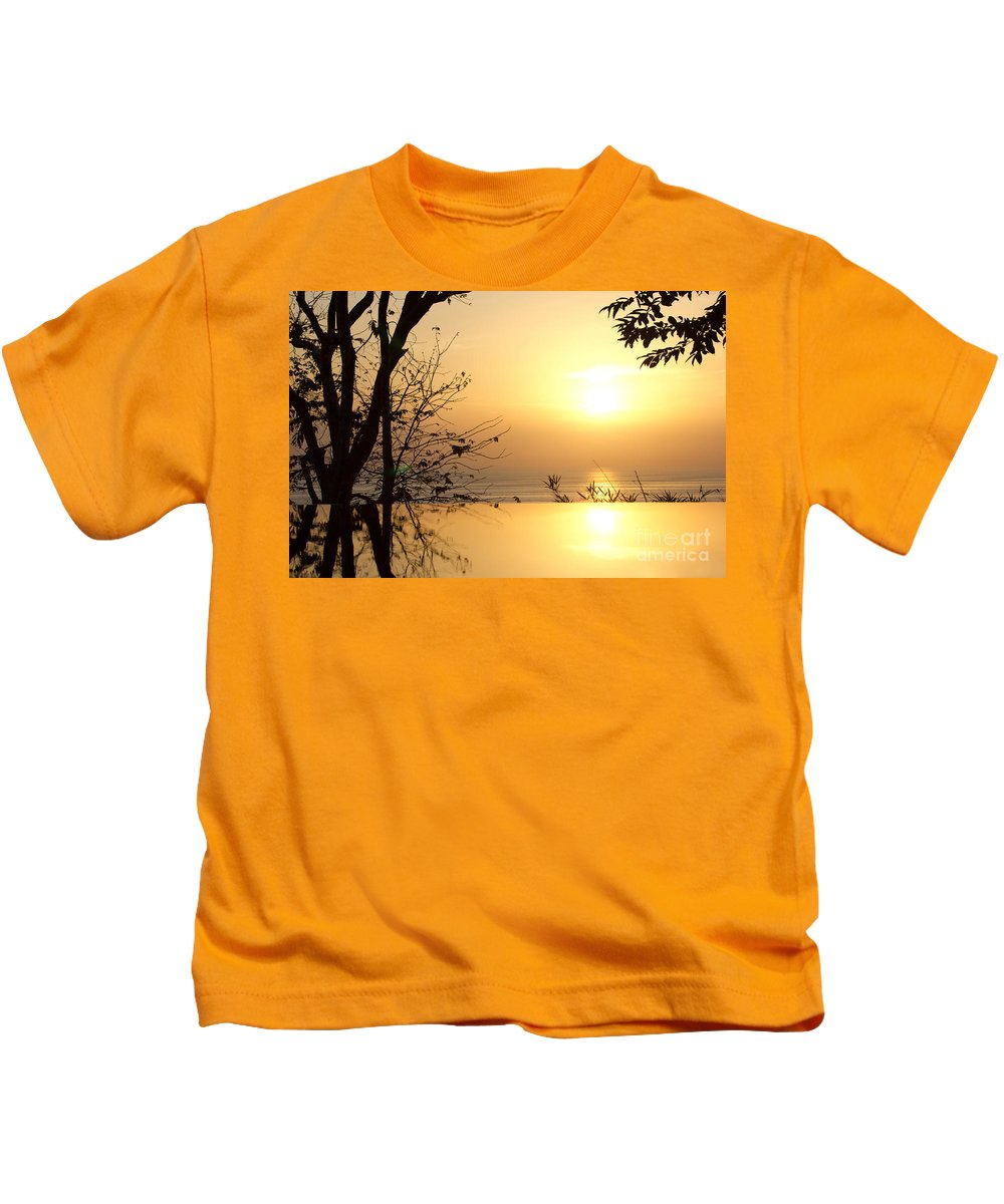 Photography Kids T-Shirt featuring the photograph On Golden Pond by Kaye Menner