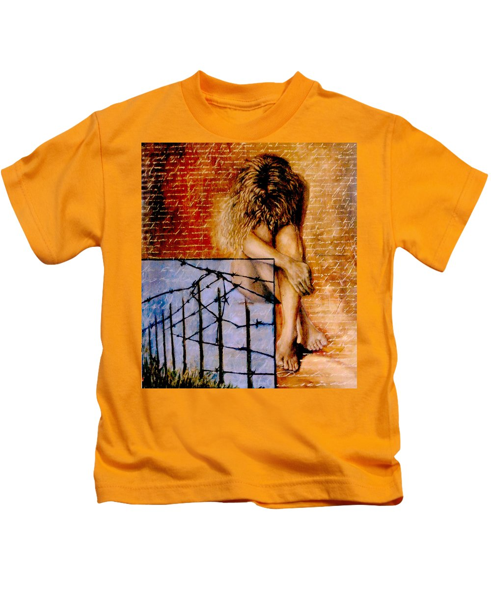 Nude Kids T-Shirt featuring the painting Palabra Cercada by Nancy Almazan