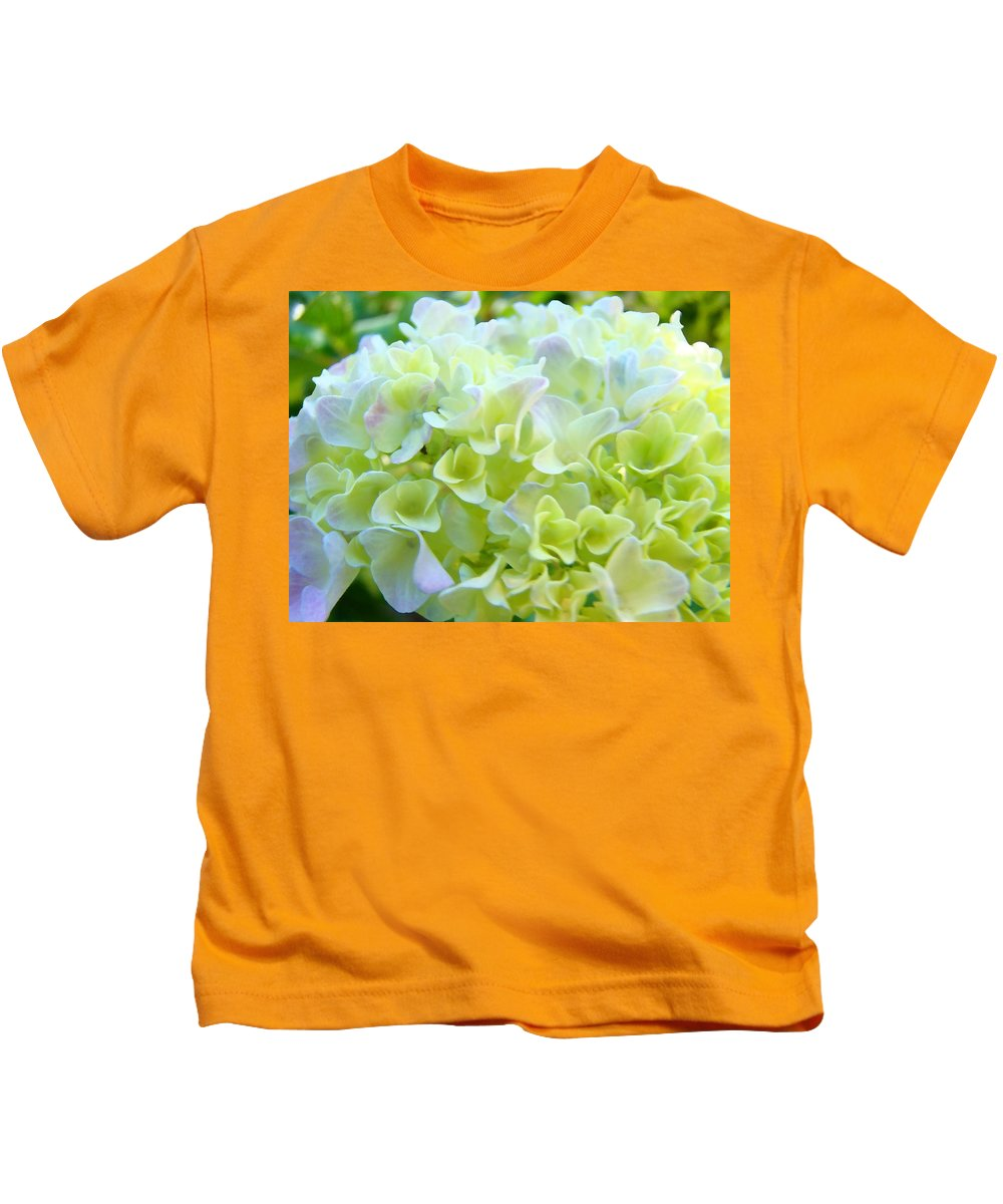 Nature Kids T-Shirt featuring the photograph Pastel Floral Hydrangea Flowers Art Baslee Troutman by Baslee Troutman