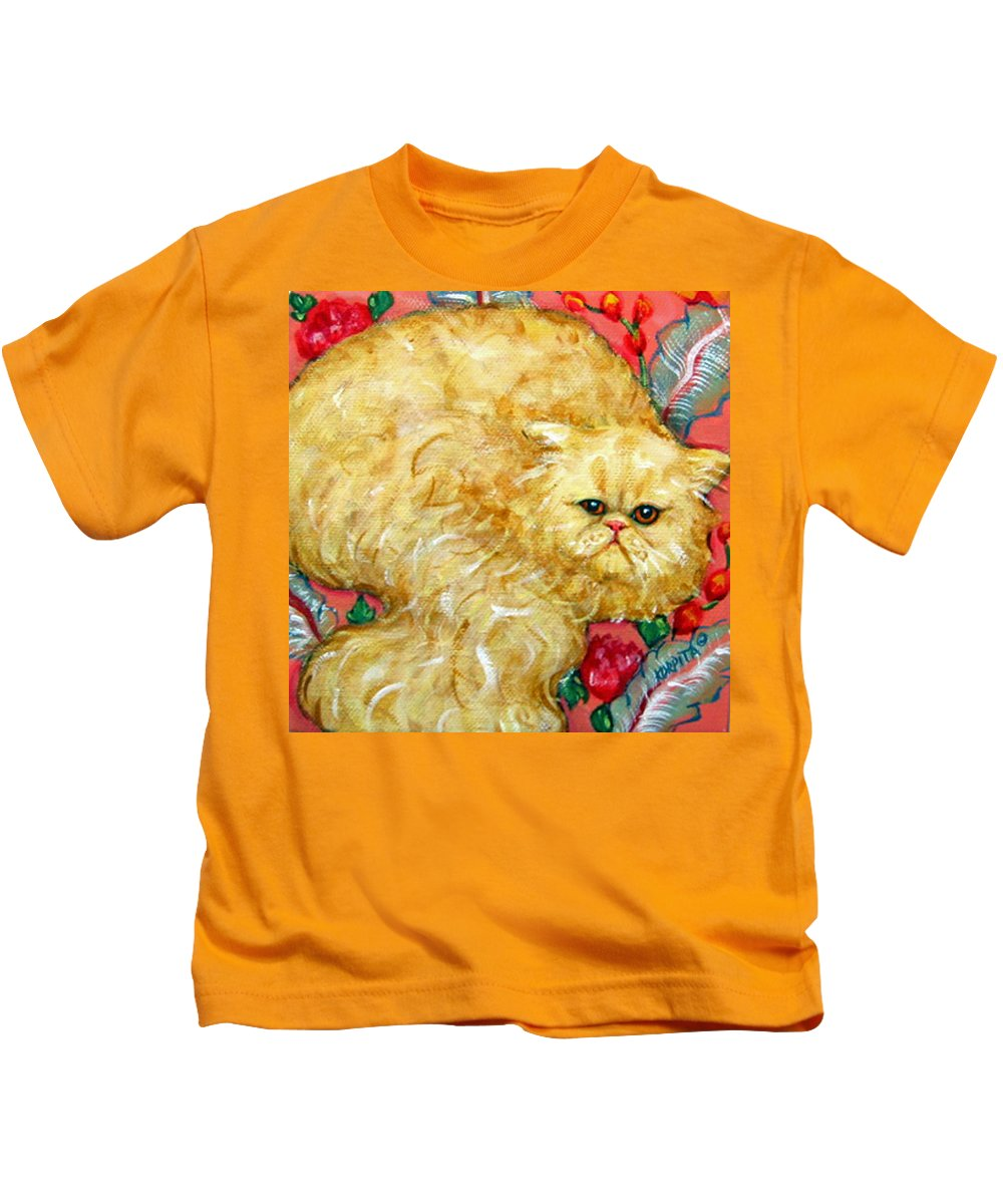 Persian Cat Kids T-Shirt featuring the painting Persian Cat On A Cushion by Rebecca Korpita