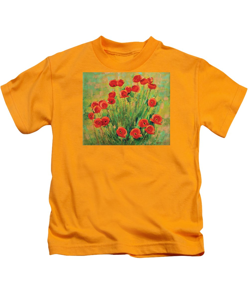 Poppies Kids T-Shirt featuring the painting Poppies by Iliyan Bozhanov