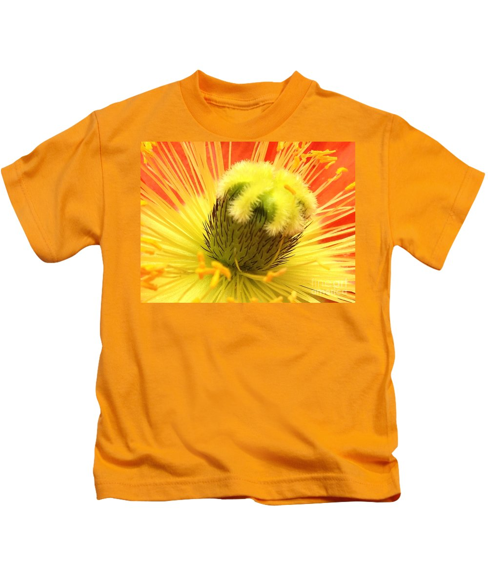 Yellow Kids T-Shirt featuring the photograph Poppy by Jacklyn Duryea Fraizer