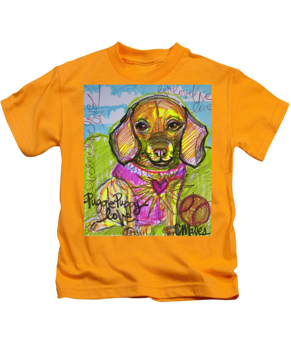 Dog Kids T-Shirt featuring the painting Puggle Puppy Love by Laurie Maves ART