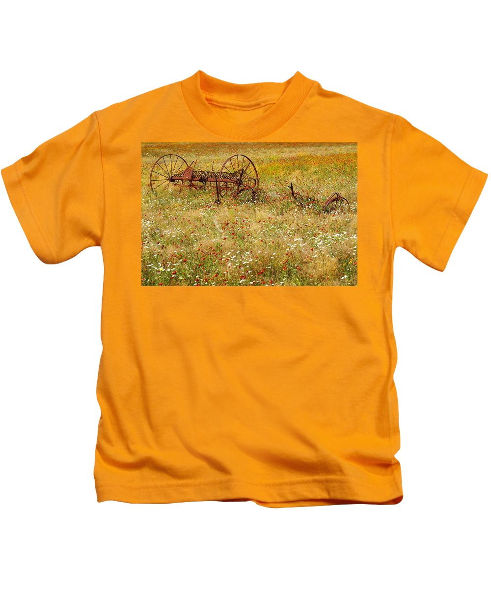 Texas Kids T-Shirt featuring the photograph Ranch And Wildflowers And Old Implement 2am-110546 by Andrew McInnes