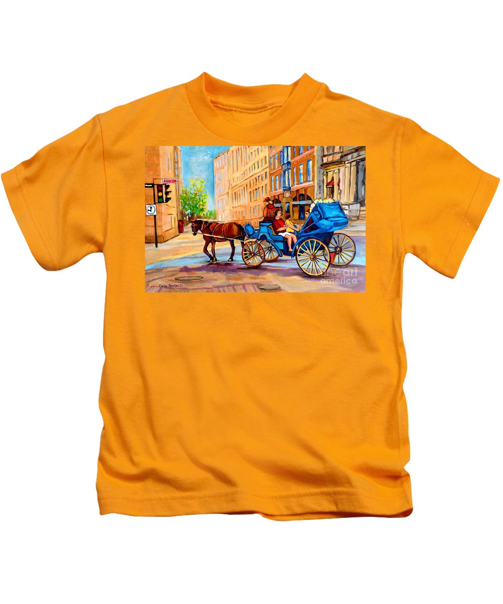 Rue Notre Dame Kids T-Shirt featuring the painting Rue Notre Dame Caleche Ride by Carole Spandau