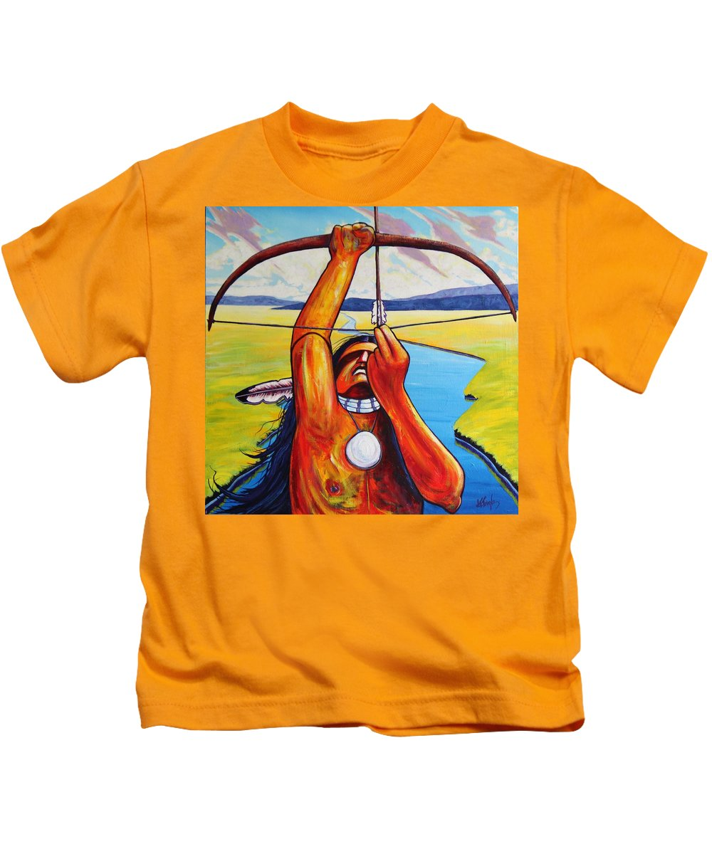 Native American Kids T-Shirt featuring the painting Shamans Prayer by Joe Triano