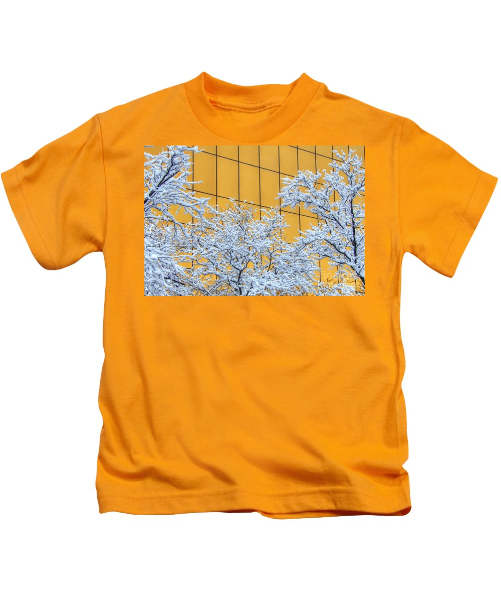 Glass Kids T-Shirt featuring the photograph Snow And Golden Glass by M Dale