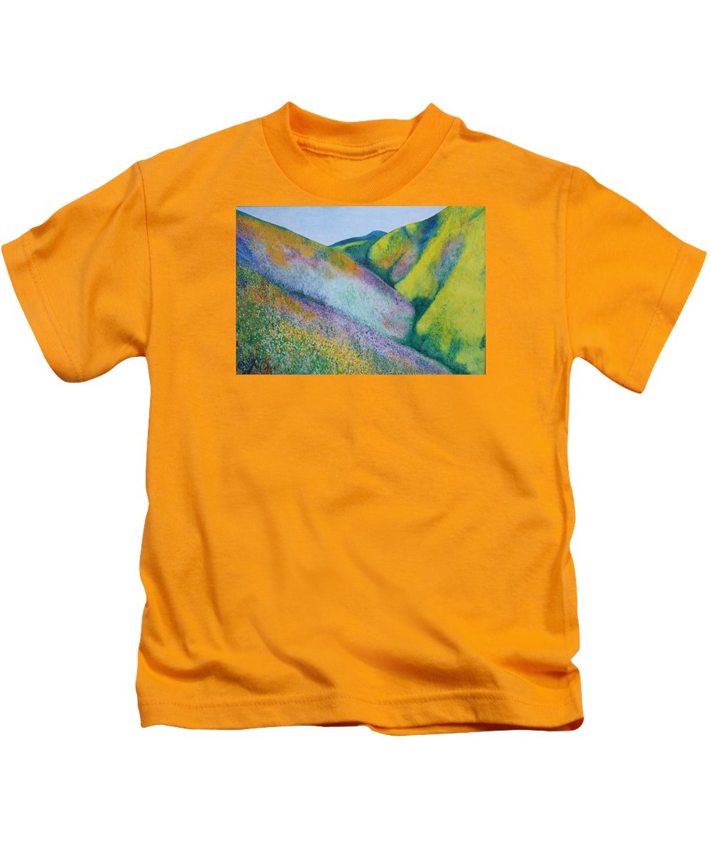 Valley Of Flowers Kids T-Shirt featuring the painting Valley Of Flowers by Ramadan Agolli