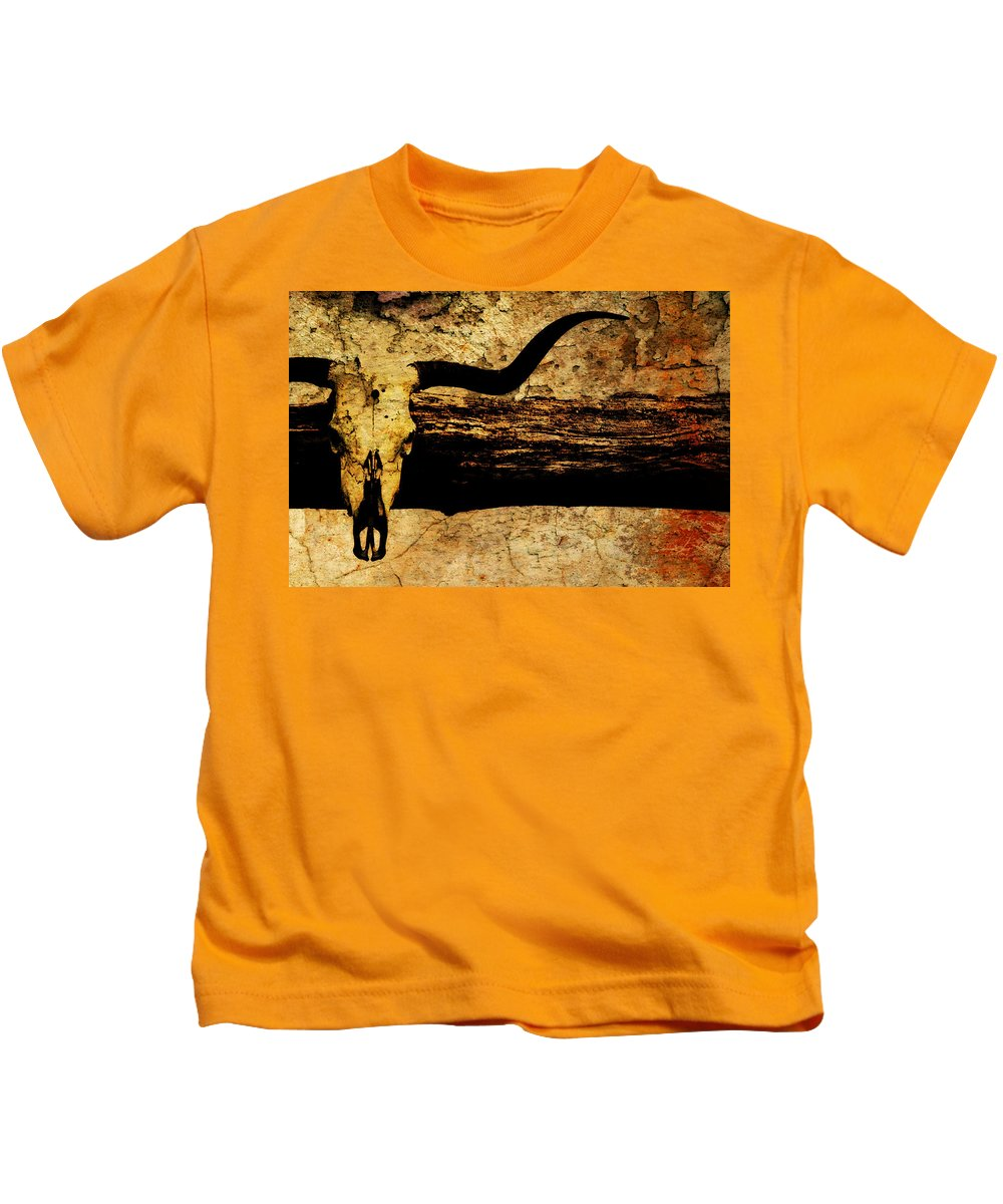Mounted Steer Skull Kids T-Shirt featuring the photograph Steer Mount by Chastity Hoff