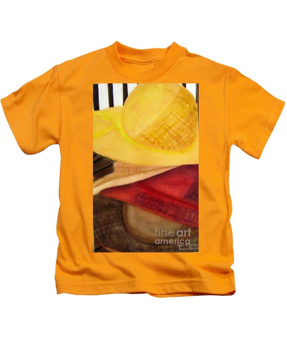 Hats Kids T-Shirt featuring the painting Stylish by Yael VanGruber