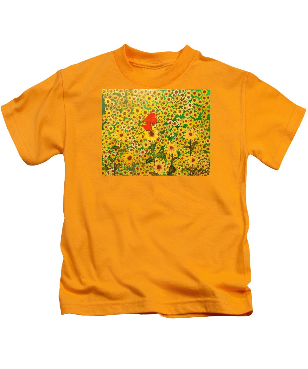 Sun Flowers Field Kids T-Shirt featuring the painting Sun Flowers Field With Two Hearts Forever Connected By Love by Cheryl Bowen-Hance