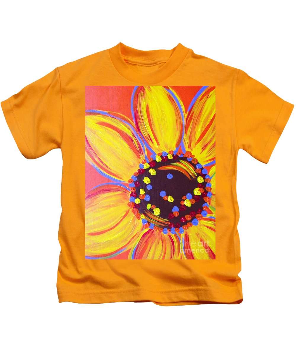 Abstract Kids T-Shirt featuring the painting Sunflower by Melissa Darnell Glowacki