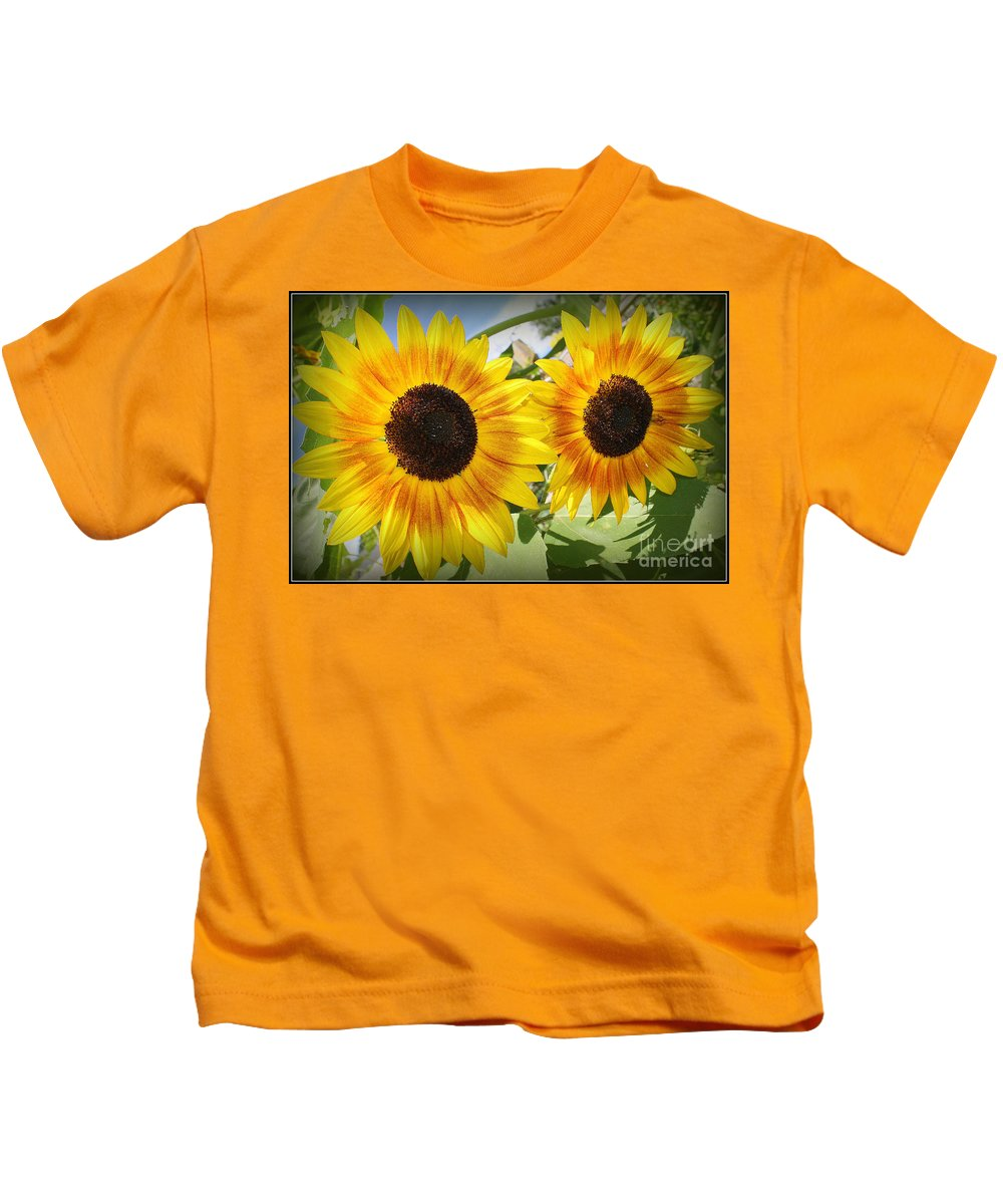 Sunflowerfield Kids T-Shirt featuring the photograph Sunflowers In Full Bloom by Dora Sofia Caputo Photographic Design and Fine Art