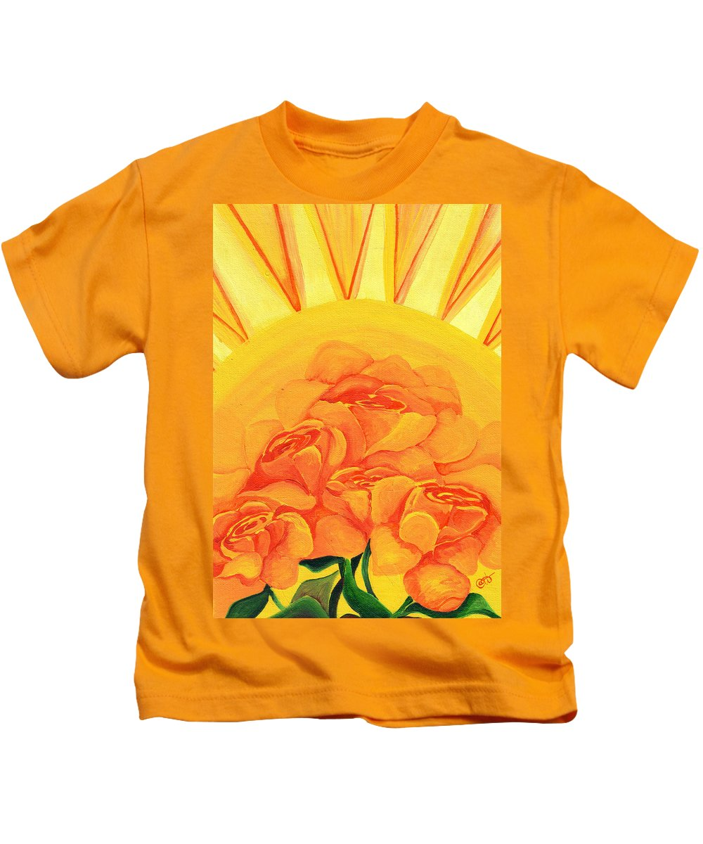 Roses Kids T-Shirt featuring the painting Sunrise Roses by Catt Kyriacou