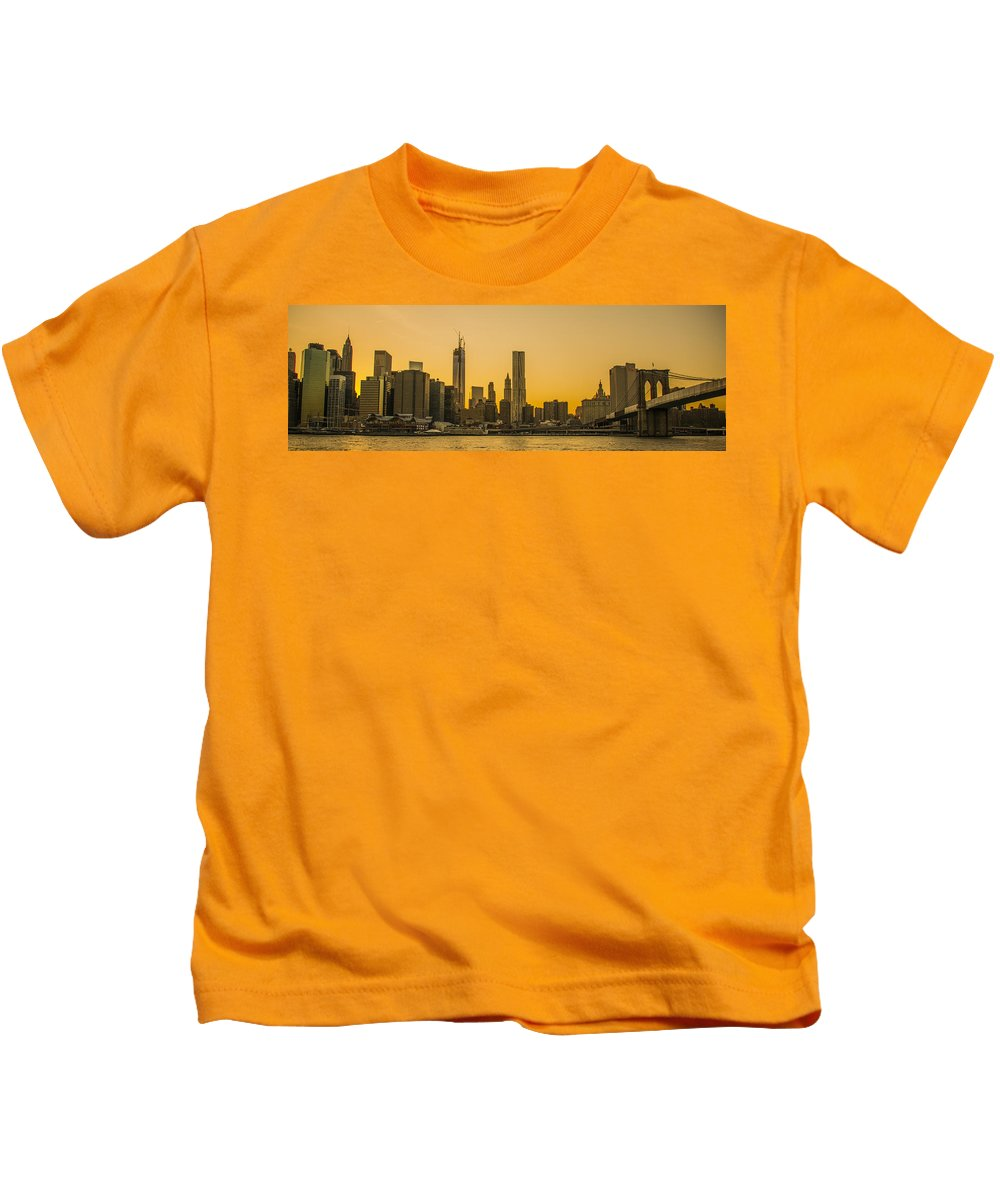 Freedom Tower Kids T-Shirt featuring the photograph Sunset Ny by Theodore Jones